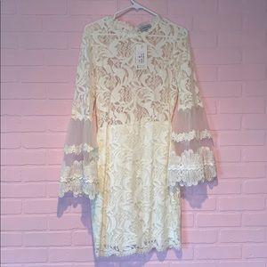 White Mini Long Sleeve Dress NWB